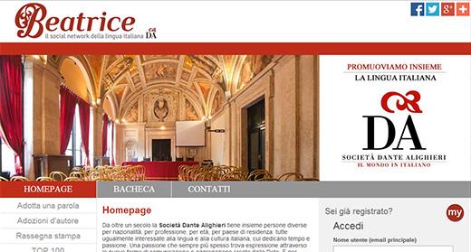 La home page di Beatrice