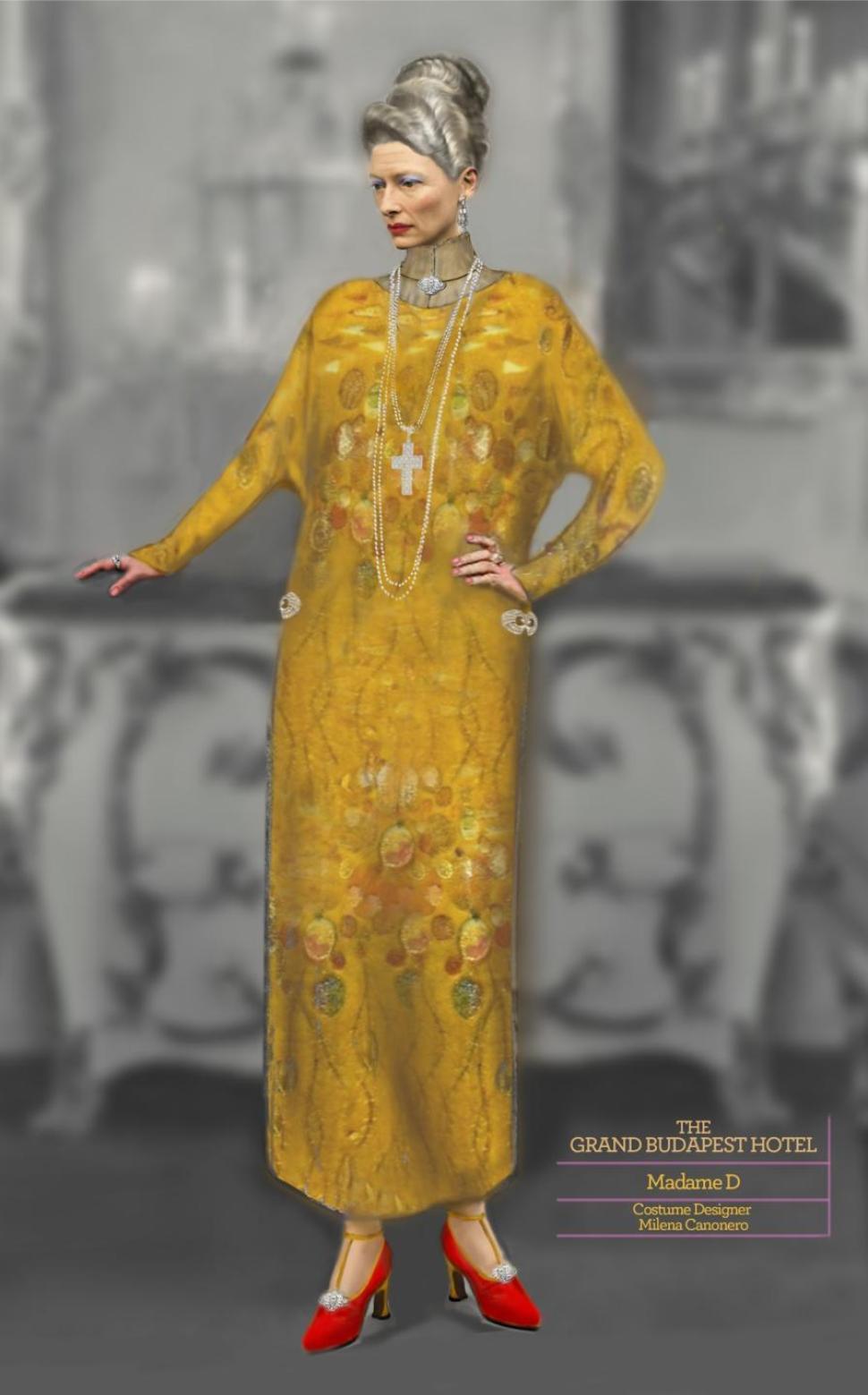 Il bozzetto del costume di Madame D, ispirato ai pattern e al color oro dei quadri di Gustav Klimt