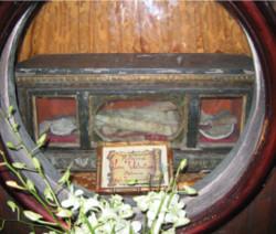 Le reliquie di San Valentino conservate nel convento di Blevedere Marittimo